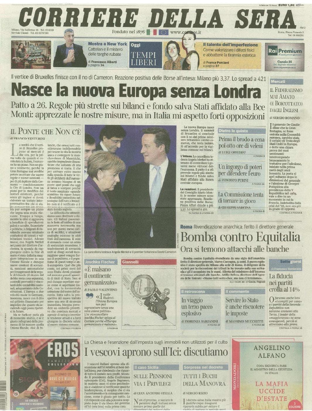 Dicembre 2011 - Corriere della sera